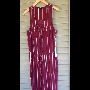 Iris NWT Romper Maroon Stripped Button Front XL